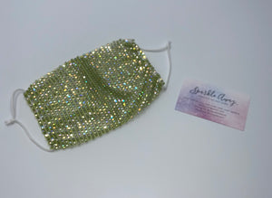 Glam Sparkly  Rhinestone Mesh Face Mask Cover In Green