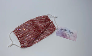 Glam Sparkly  Rhinestone Mesh Face Mask Cover In Red