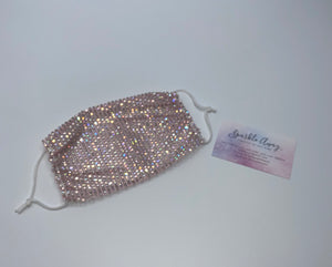 Glam Sparkly  Rhinestone Mesh Face Mask Cover In Pink
