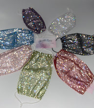 Glam Sparkly  Rhinestone Mesh Face Mask Cover In Purple