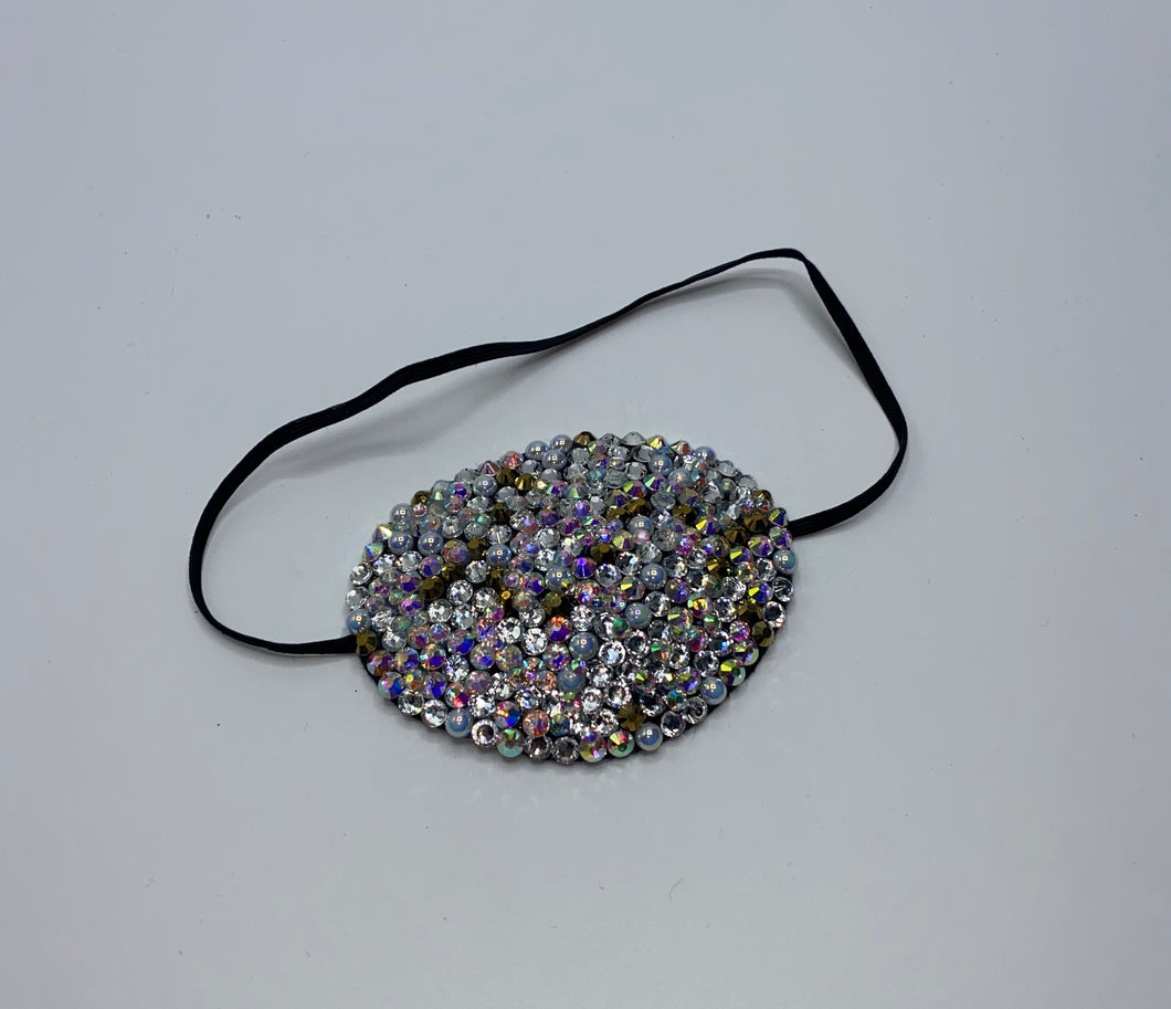 Black Eye Patch Bedazzled In Luxury Stones 24k Gold Opal Rose Gold Pearls & Moonstone