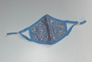 NEW! Double Sparkly Diamante Rhinestone Face Mask In Baby Blue