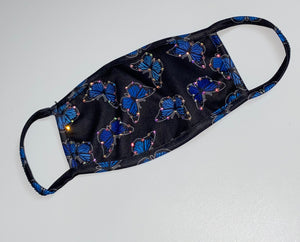 Blue Colour Butterfly Glam Swarovski Crystal Face Mask In Black