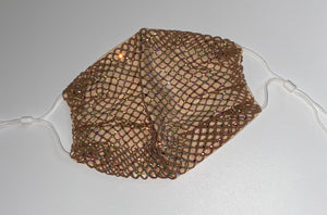 Glam Sparkly Deluxe Rhinestone Mesh Face Mask In Champagne