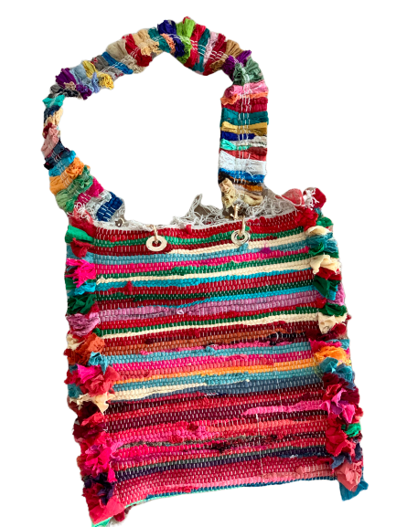 GIpsy Boho Shopper bamboo handles with colorful strap (Customizable)
