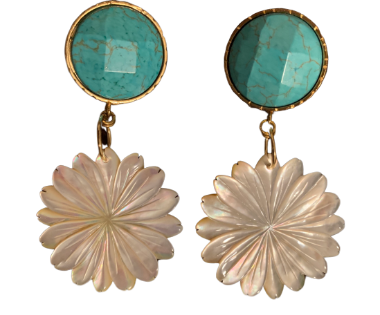 Faceted turquoise Mother Pearl Flower Earrings