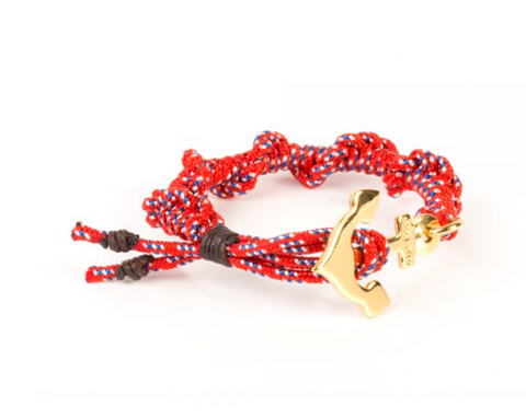 RED NYLON YELLOW GOLD ANCHOR BY ERIKA YELO