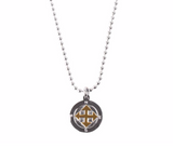 Army Long necklace Compass Charm White gold Unisex