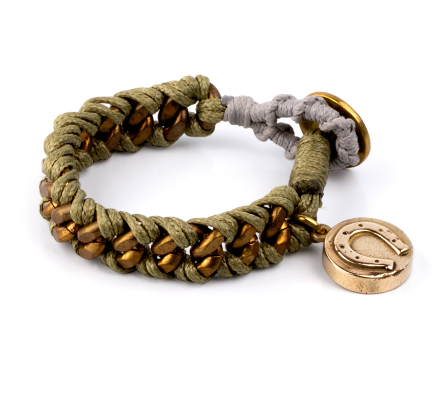 Green Thread Bracelet and Brass Charms