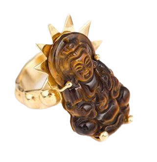 Eye Tiger Stone Buddha Adjustable ring