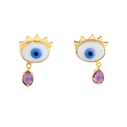 Devil Eye Amethyst Drop Earrings