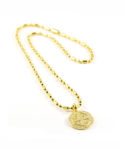 SAINT BENEDICT SHORT ARMY NECKLACE YELLOW GOLD BY ERIKA YELO