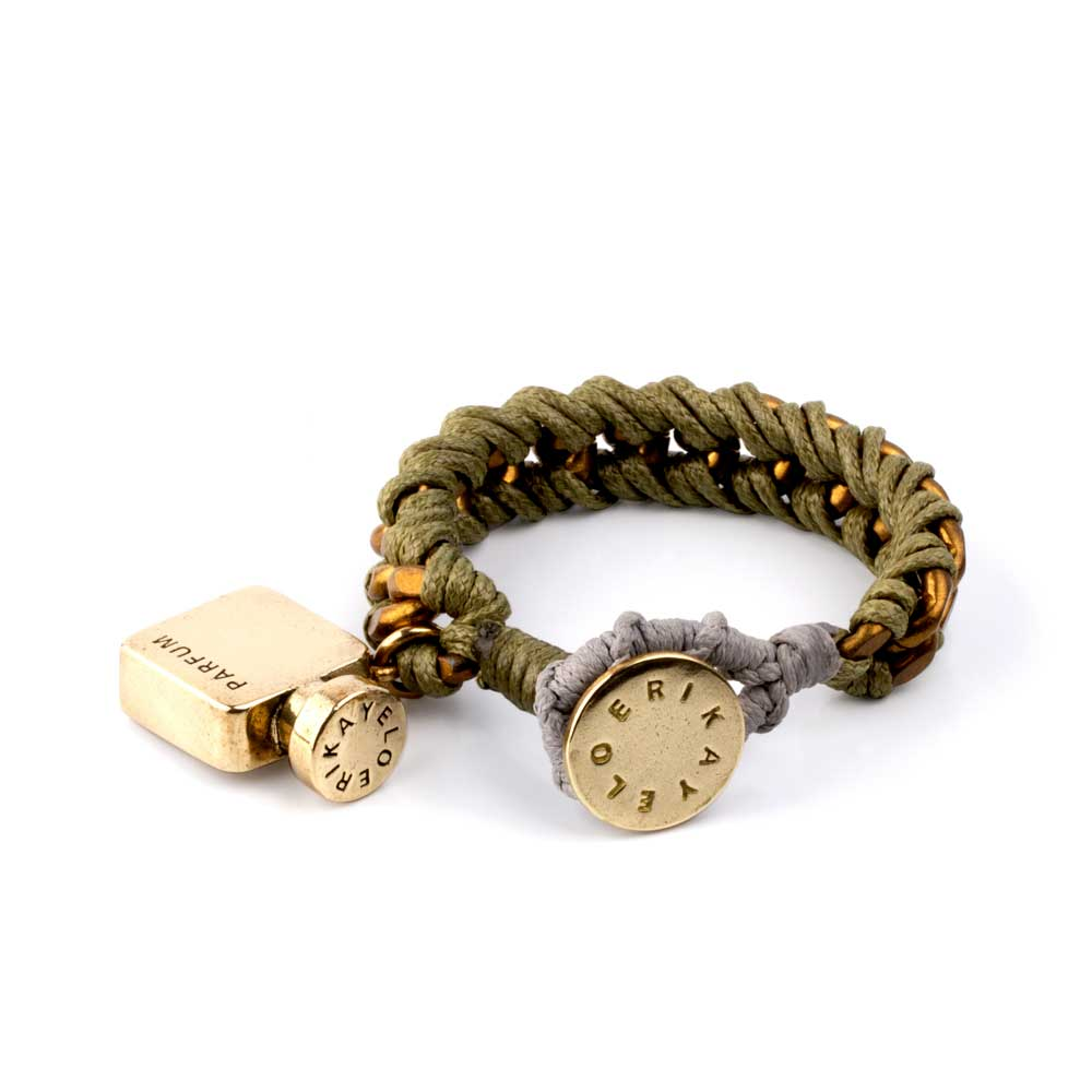 Brass Perfume Bottle Brass Green Bracelet