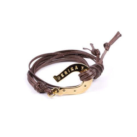 HORSESHOE BROWN CORD YELLOW GOLD BY ERIKA YELO