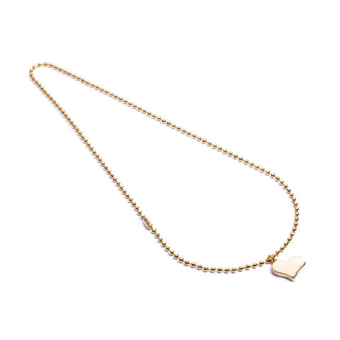 Army Long Chain Liebe Heart Yellow Gold