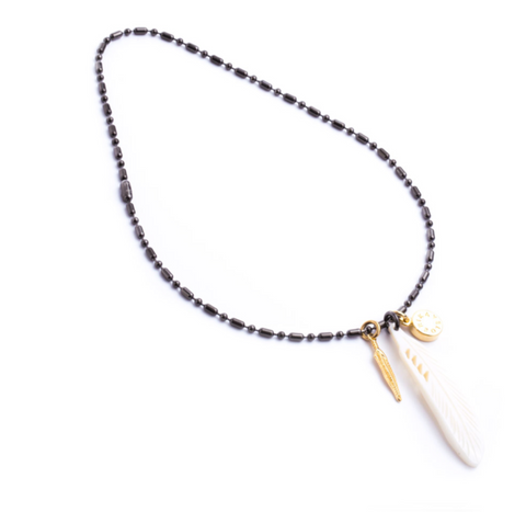 Army Mother Pearl / Feather Shot Necklace titanium