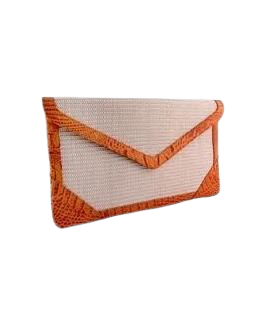 Nile Raphia Orange Leather Clutch