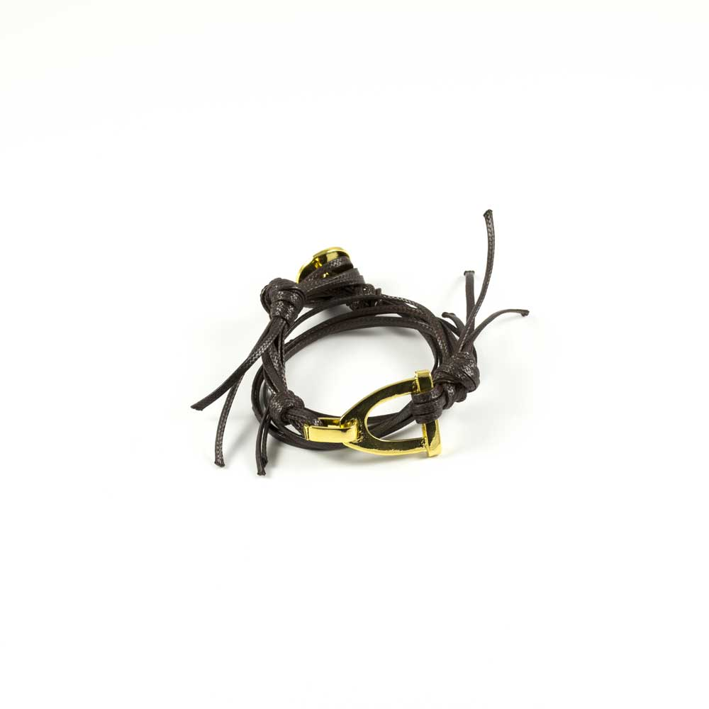 Double Loop Stirup Equestrian Yellow Gold Bracelet