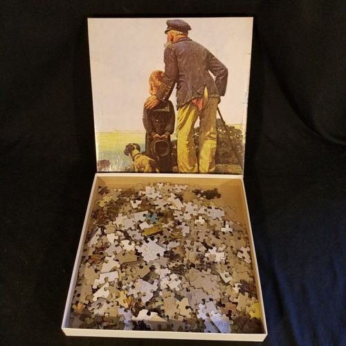 "Norman Rockwell - ""Looking Out to Sea"" 550 Piece Jigsaw Puzzle by Hoyle 18""x24"""
