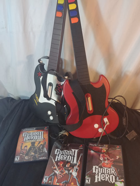 PS2 Guitar Hero 1 2 3 + Wired Guitar Controllers