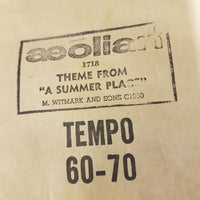 "Original Piano Roll - Theme From ""A Summer Place"" 1718 Aeolian M Witmark & Sons"