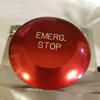 Red emergency stop button in steel case with lock and cord with clips