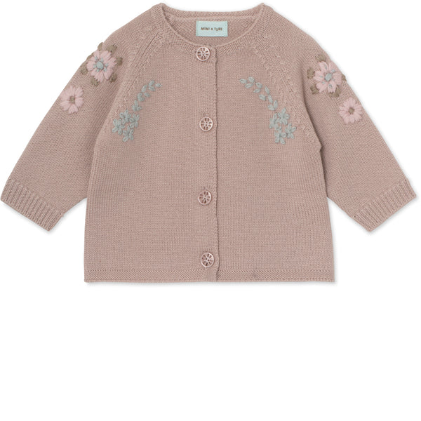 Kerry Cardigan i merinould - Cloudy Rose