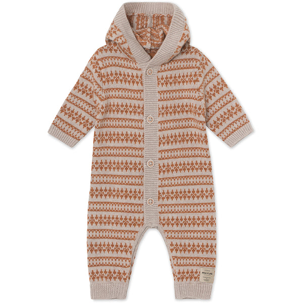 Alver Romper i merinould - Light Brown Melange