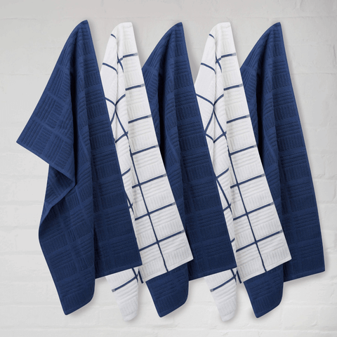 Sticky Toffee Window Panel Blue Tea Towels