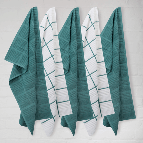 Sticky Toffee Teal Window Pane Terry Tea Towels