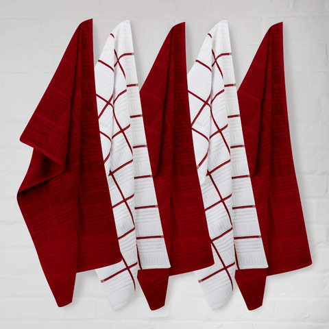 Sticky Toffee Terry Window Pane Red Tea Towels