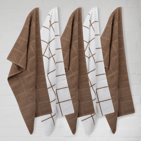 Sticky Toffee Terry Window Pane Tea Towels in Chocolate