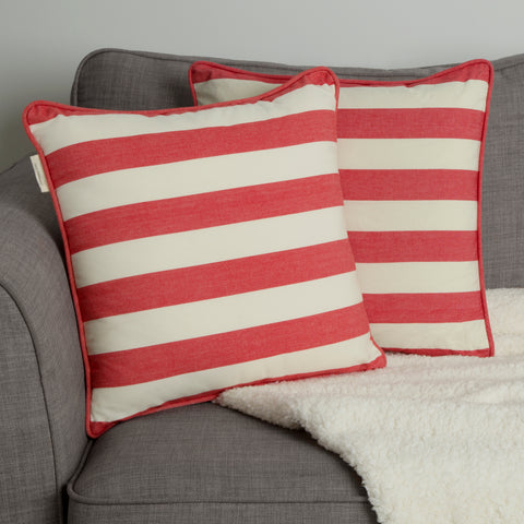 Sticky Toffee Cornwall Chic cotton red stripe cushion covers