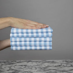Sticky Toffee Mini Check Gingham Cornwall Chic Cotton Tea Towel in Blue
