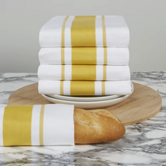 Sticky Toffee Mustard Stripe Cotton Tea Towel