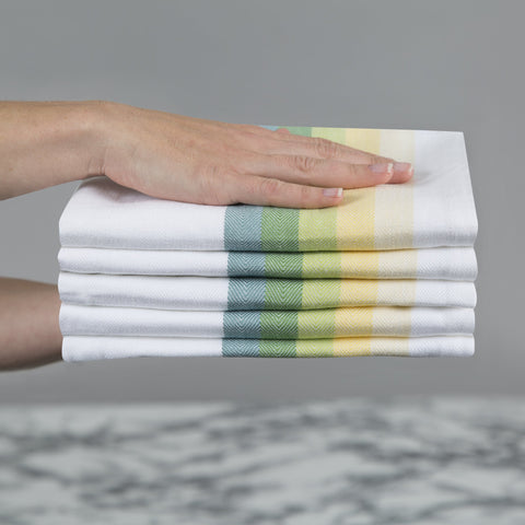 Sticky Toffee Multi-coloured green yellow stripe tea towels