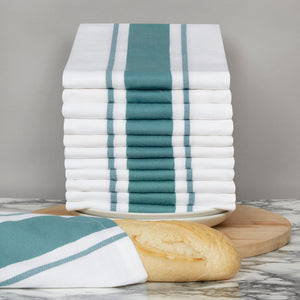 Large Set of 12 Striped Cotton Drill Tea Towels in Five Colours - Sticky Toffee Store
