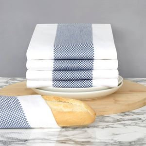 Set of 5 Thick Cotton Drill Mini Check Striped Tea Towels in Five Colours - Sticky Toffee Store