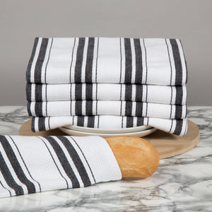 Set of 5 Basket Weave Striped Cotton Tea Towels in Four Colours - Sticky Toffee Store