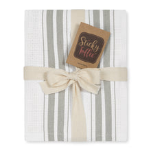 Load image into Gallery viewer, Set of 5 Basket Weave Striped Cotton Tea Towels in Four Colours - Sticky Toffee Store