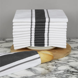 Set of 12 Striped Cotton Drill Tea Towels in Five Colours - Sticky Toffee Store