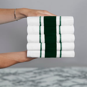 Set of 5 Striped Thick Cotton Drill Tea Towels in Nine Colours - Sticky Toffee Store