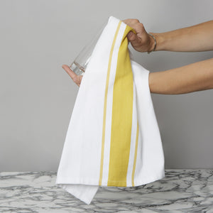 Set of 5 Striped Thick Cotton Drill Tea Towels in Seven Colours - Sticky Toffee Store