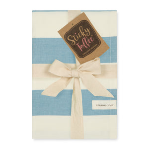Set of 5 Woven Striped Cotton Tea Towels in Two Colours - Cornwall Chic - Sticky Toffee Store