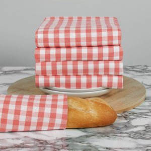 Set of 5 Thick Woven Mini Gingham Check Thick Cotton Tea Towels in Three Colours - Cornwall Chic - Sticky Toffee Store