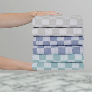 Set of 6 Woven Textured Check Tea Towels in Mixed Colours
