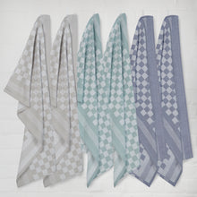 Load image into Gallery viewer, Set of 6 Woven Textured Check Tea Towels in Mixed Colours