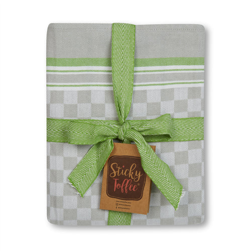 Set of 5 Woven Textured Check Tea Towels in Three Colours