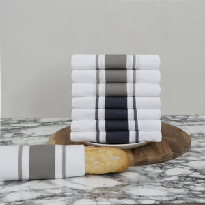 Large Set of 8 Striped Cotton Drill Tea Towels in Mixed Colours - Sticky Toffee Store