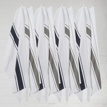 Load image into Gallery viewer, Large Set of 8 Striped Cotton Drill Tea Towels in Mixed Colours - Sticky Toffee Store